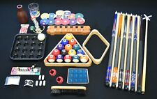 Top Pool Table Billiards Accessory Kit Pool Cue Sticks Bridge Ball Tray Rack Set