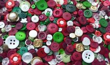 100 CLASSIC CHRISTMAS BUTTONS, ASSORTED STYLES, RED, GREEN, WHITE, GOLD, SILVER
