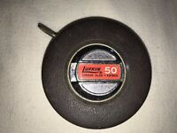 Vintage The Lufkin Rule Co. USA Chrome Clad 50 ft Steel Tape Measure