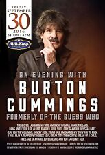 Burton Cummings 2016 New York City Concert Tour Poster-Soft Rock Music,Guess Who