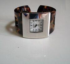 Designer style  tortoise shell/ silver Finish bangle cuff fashion women's  watch