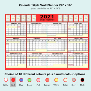 """2021 Calendar Style Wall Planner: 24x16"""" & Any 12 Month period - 13 colours. [F]"""