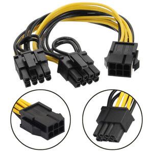 EPS12V / CPU 6pin to dual 6+2pin PCI-E PCI express VGA Graphic cable Y splitter
