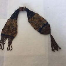 Antique Civil War Era cotton Knitted Steel cut Bead Beggars Purse Blue Gold