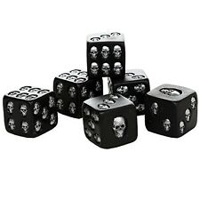 Decorative Black Skull Dice of Death 1.5 Inches Each Set of 6 Halloween Decor