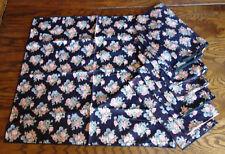 set of 8 vintage 1980s cloth napkins black dusty rose and slate blue flowers
