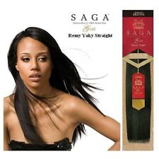 "SAGA GOLD YAKY 14"" Color #1 100% HUMAN REMY HAIR WEAVE STRAIGHT EXTENSION"