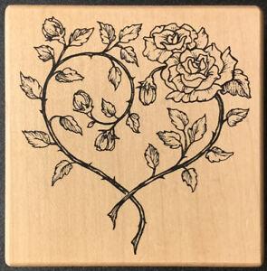 PSX G-3352 Rose Vine Heart Rubber Stamp