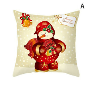 Happy New Year Santa Claus Cushion Cover Christmas Decoration Home Pillow C N&