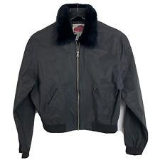 Highway Original Style Vintage 90s Black Crop Motorcycle Jacket Faux Fur M Women