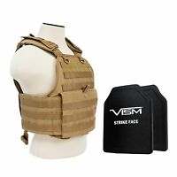 "NcStar TAN Plate Carrier & 2 10""X12"" Shooters Cut Soft UHMWPE Ballistic Plates"