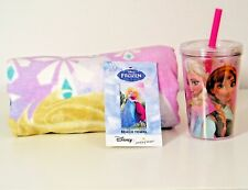 "Disney Frozen Beach Towel 28"" x 58 "" and Insulated Tumbler Cup Anna Elsa New"