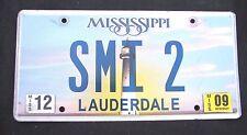 """MISSISSIPPI VANITY License Plate """" SMI 2""""  STEVE STAN SCOTT STUART INGLE INGRAM"""