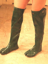 Japanese Over Knee Green Rubber Ninja Tabi Split Toe Boots EU41 UK7 Gummistiefel