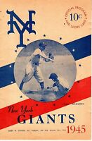 1945 (July 1) Baseball Program, Chicago Cubs @ New York Giants, scored, 2 games!