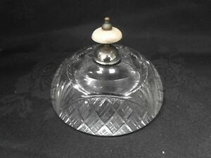 LRG ANTIQUE CUT GLASS INKWELL, WITH PLATED LID
