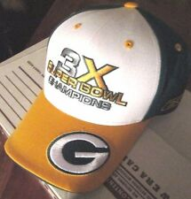 REEBOK NFL GREEN BAY PACKERS 3X CHAMPIONS ADJUSTABLE HAT SIZE ADULT ONE SIZE