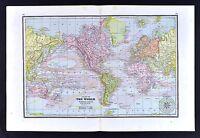 1891 Watson Atlas Map - World - Ocean Currents - America Europe Asia Africa