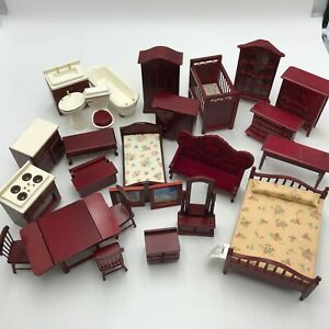Lot Of 26 Dollhouse Miniature Vintage Wood Furniture & Accessories Bedroom Bath