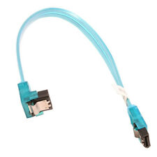"10"" SATA 6Gbps Cable, Straight to Right Angle W/Metal Latch, UV Blue"
