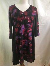 Suite 7 Women's Dress Size 20W Black Floral Knit Dress Long Sleeve A-line Body