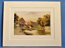 FOLLY BRIDGE OXFORD RIVER THAMES VINTAGE DOUBLE MOUNTED WATER COLOUR PRINT c1920