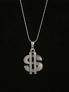 Dollar Sign $ Large Bling Charm Pendant Ball Chain Necklace 16 Inch Fancy Dress
