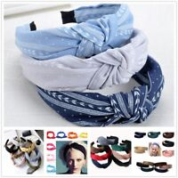 Boho Headband For Girls Pure Color Elastic Hair Band Twisted Knot Cloth Turban