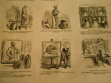 Vignettes 1867 Tableau on a refusé mes 2 lutteur Le Fusil à aiguille Caricature
