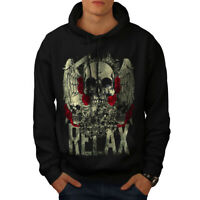 Wellcoda Relax Metal Rock Skull Mens Hoodie, Rose Casual Hooded Sweatshirt