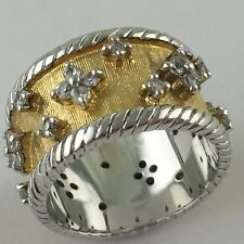STERLING SILVER GOLD PLATED DIAMANTE QUATREFOIL BAND RING SIZE 6,75 BEAUTIFUL