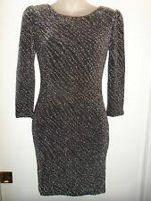 Foreign Exchange S Dress NWT Black Silver Metallic Open Back Holiday Party Sexy