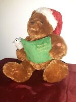 "Gund Christmas Teddy Bear~ Moves & Reads ""'Twas The Night Before Christmas"" 2006"