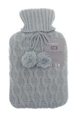 Cosy Large 2 Litre Hot Water Bottle With Chunky Lattice Knitted Cover