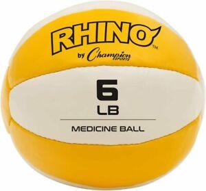 Champion Sports 6 lb. Rhino Heavy-Duty Leather MEDICINE BALL, Yellow/White