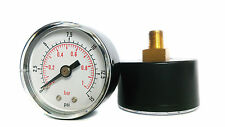 Pressure Gauge 0/15 PSI & 0/1 Bar 40mm Dial 1/8 BSPT Back connection.