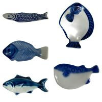 Vintage Lot of 5 Ceramic Japanese Blue & White Chopstick Rests  - Assort. Fish