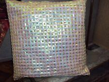 2 edle Dekokissen Kissenhülle 40 x 40 cm Pailetten Zierstein rosa Reißverschluß