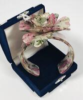 Chunky Flowery Bangle Pink Roses Plastic & Aurora Borealis Crystal Cute Costume