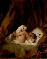 """oil painting handpainted on canvas""""girl in bed, with a puppy playing""""@N11114"""