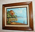Seaside Oil On Canvas - Sharon Burkett Kaiser Vintage Painting - Framed 15x13