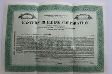 Stock certificate for Eastern Building Corp. From 1928