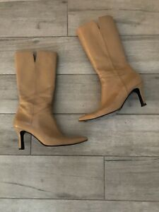 Stuart Weitzman Beige/Tan Soft Leather Heeled Mid Calf Boots Sz 8.5