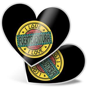 2 x Heart Stickers 7.5 cm - Fuerteventura Canary Islands Travel  #10565