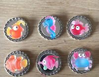 Sea Magnets Creatures Bottle Cap Fridge Magnets, Set Of 6, Fish Nautical Magnets