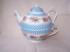 Tea for one aus Brilliantporzellan * Rosen/blaukaro  * ORIGINAL Jameson & Tailor