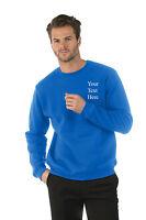 Personalised custom embroidered Mens/Ladies Sweatshirts,Royal, Text,Company Logo