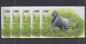 F456. 5x Congo - MNH - Animals - Gorillas