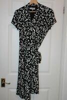 Hobbs ~ Black & White Stretch Viscose Wrap Dress ~ Size 12