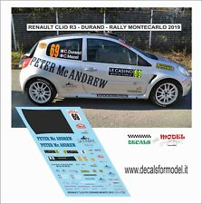 DECAL 1:43 RENAULT CLIO R3C DURAND RALLY MONTECARLO 2019